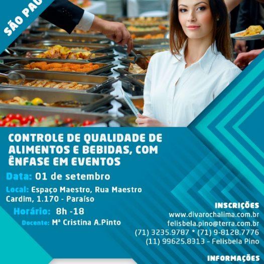 São Paulo: Controle de Qualidade de Alimentos e Bebidas, com Ênfase em Eventos