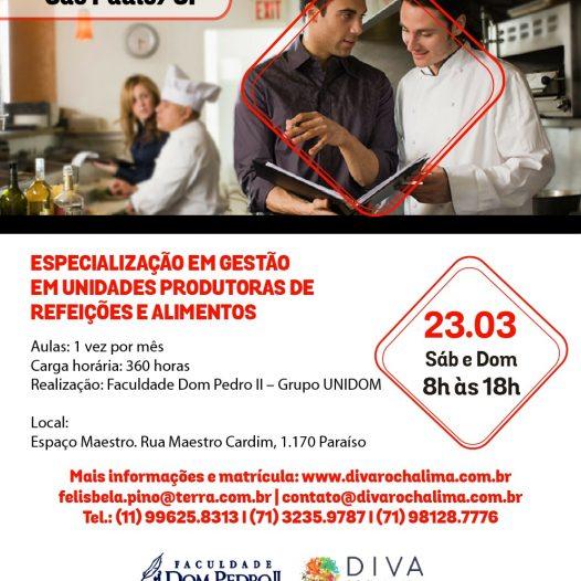 São Paulo: Especialização em Gestão  em Unidades Produtoras de Refeições e Alimentos