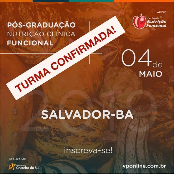 Confirmada Turma 2019 da Pós em Nutrição Clínica Funcional em Salvador!