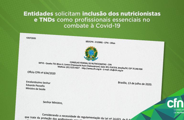 Entidades solicitam inclusão dos nutricionistas e TNDs como profissionais essenciais no combate à Covid-19